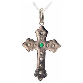Cruz plata 925 con strass y piedra verde s6