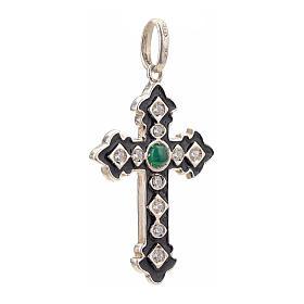 Cruz plata 925 con strass y piedra verde s2
