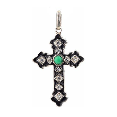 Croce argento 925 con strass e pietra verde 1