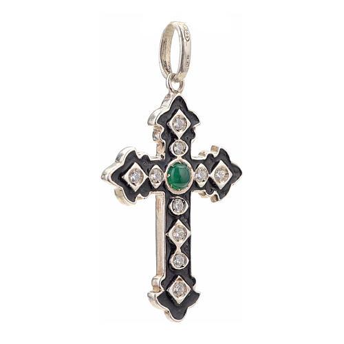 Croce argento 925 con strass e pietra verde 2
