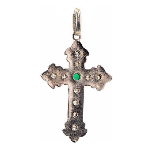 Croce argento 925 con strass e pietra verde 3
