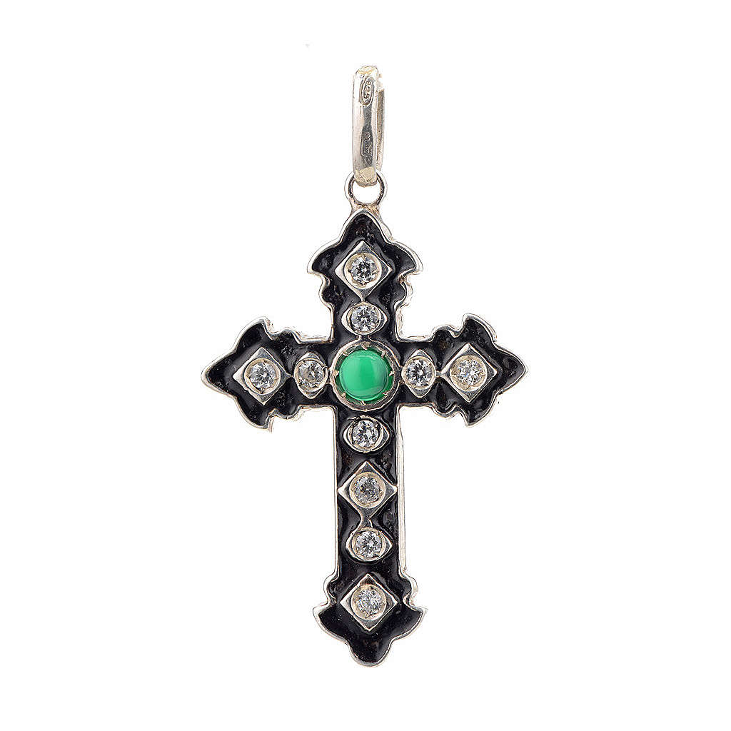 Pendant cross, sterling silver with rhinestones and green stone 4