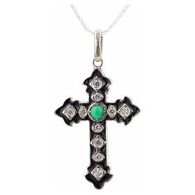 Pendant cross, sterling silver with rhinestones and green stone s4