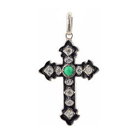 Pendant cross, sterling silver with rhinestones and green stone s1