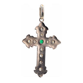 Pendant cross, sterling silver with rhinestones and green stone s3