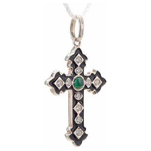 Pendant cross, sterling silver with rhinestones and green stone 5