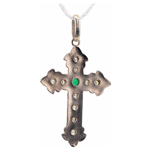 Pendant cross, sterling silver with rhinestones and green stone 6