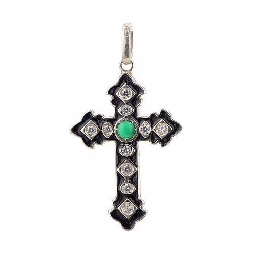 Pendant cross, sterling silver with rhinestones and green stone 1