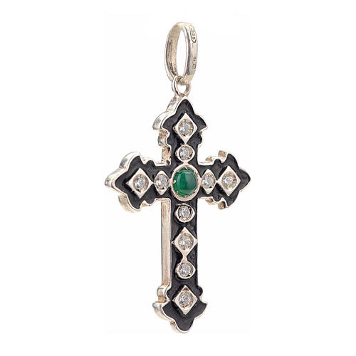 Pendant cross, sterling silver with rhinestones and green stone 2