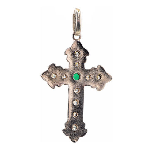 Pendant cross, sterling silver with rhinestones and green stone 3