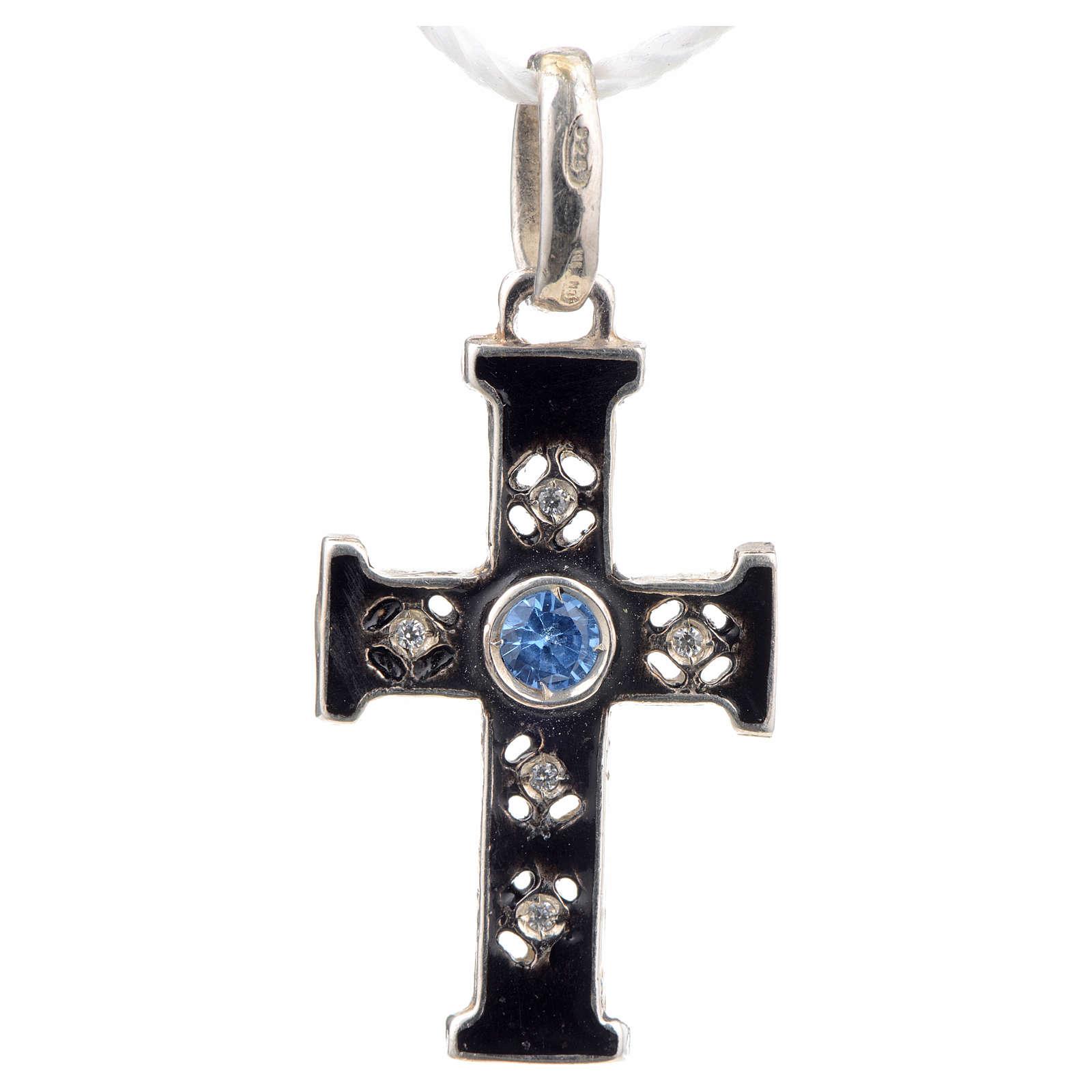 Croce romanica con pietra in argento 925 ossidato 4