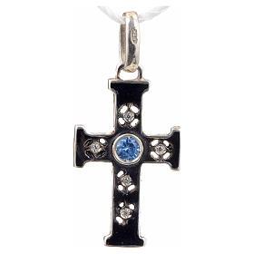 Croce romanica con pietra in argento 925 ossidato s1