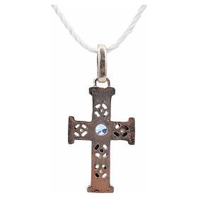 Croce romanica con pietra in argento 925 ossidato s3