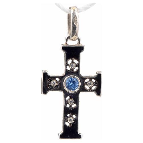 Croce romanica con pietra in argento 925 ossidato 1
