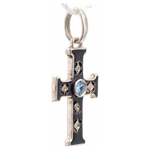 Croce romanica con pietra in argento 925 ossidato 2