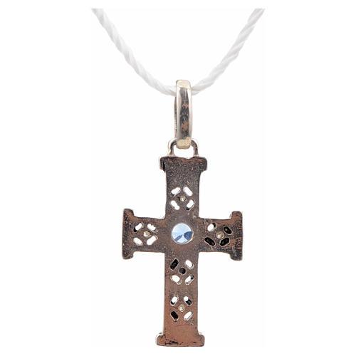 Croce romanica con pietra in argento 925 ossidato 3
