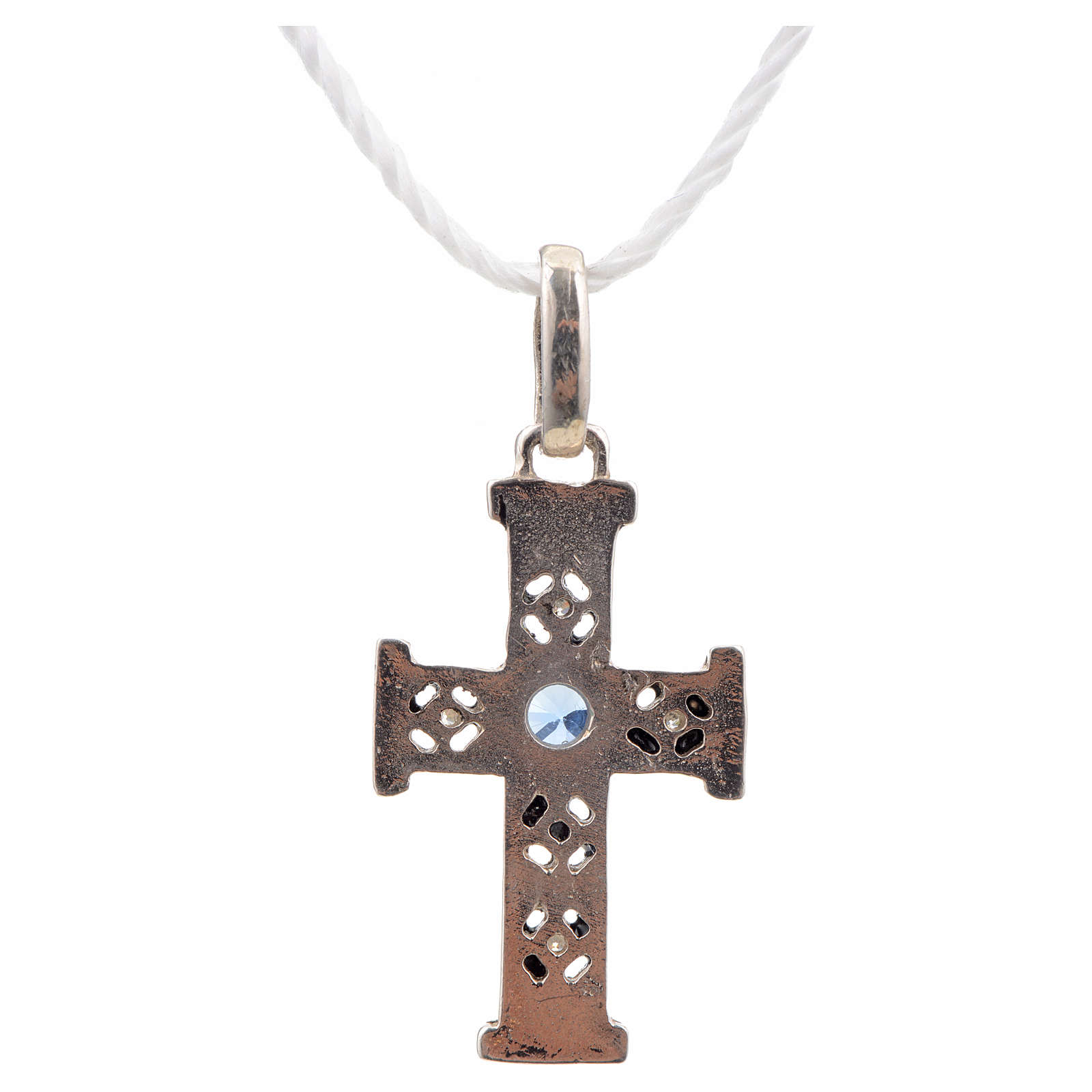 Pendant Romanesque cross, sterling silver, stone, oxidised finis 4