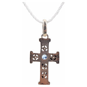 Pendant Romanesque cross, sterling silver, stone, oxidised finis s3