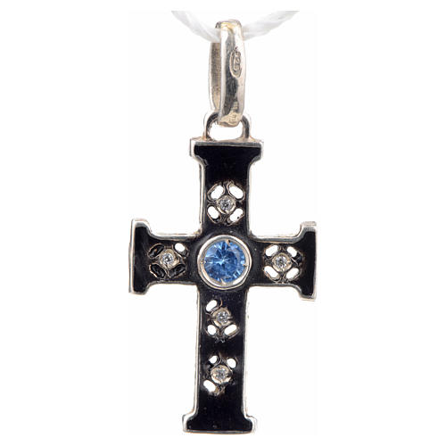 Pendant Romanesque cross, sterling silver, stone, oxidised finis 1