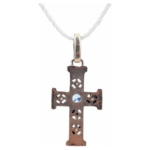 Pendant Romanesque cross, sterling silver, stone, oxidised finis 3