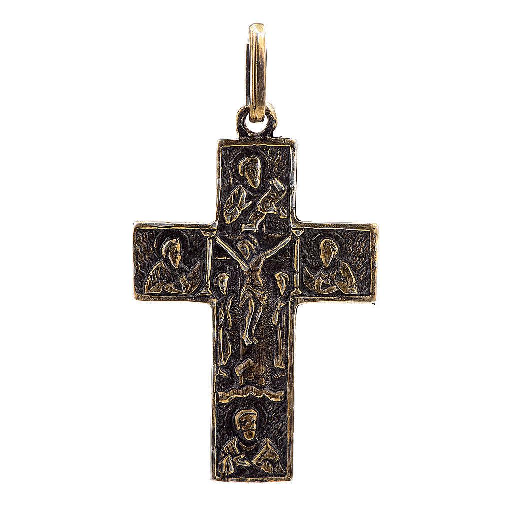 Pendant Slavic cross in sterling silver, bronze finish 4