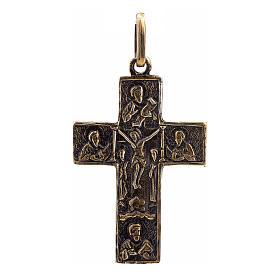 Pendant Slavic cross in sterling silver, bronze finish s1