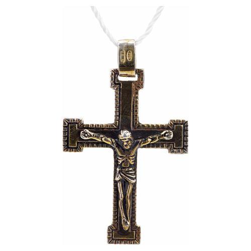 Croce classica argento 925 bronzato 1