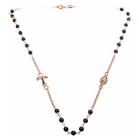 Collar MATER negro cadena plata 925 rosado Tau medalla s4