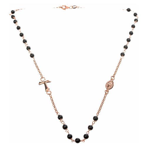 Collar MATER negro cadena plata 925 rosado Tau medalla 4
