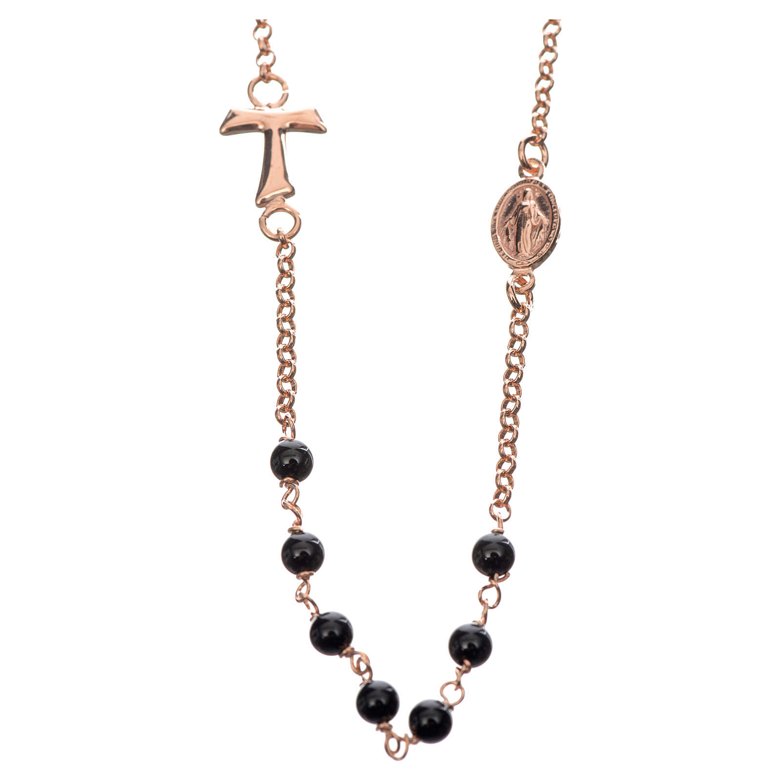Silver necklace with Tau cross and black pearls, MATER jewels 4