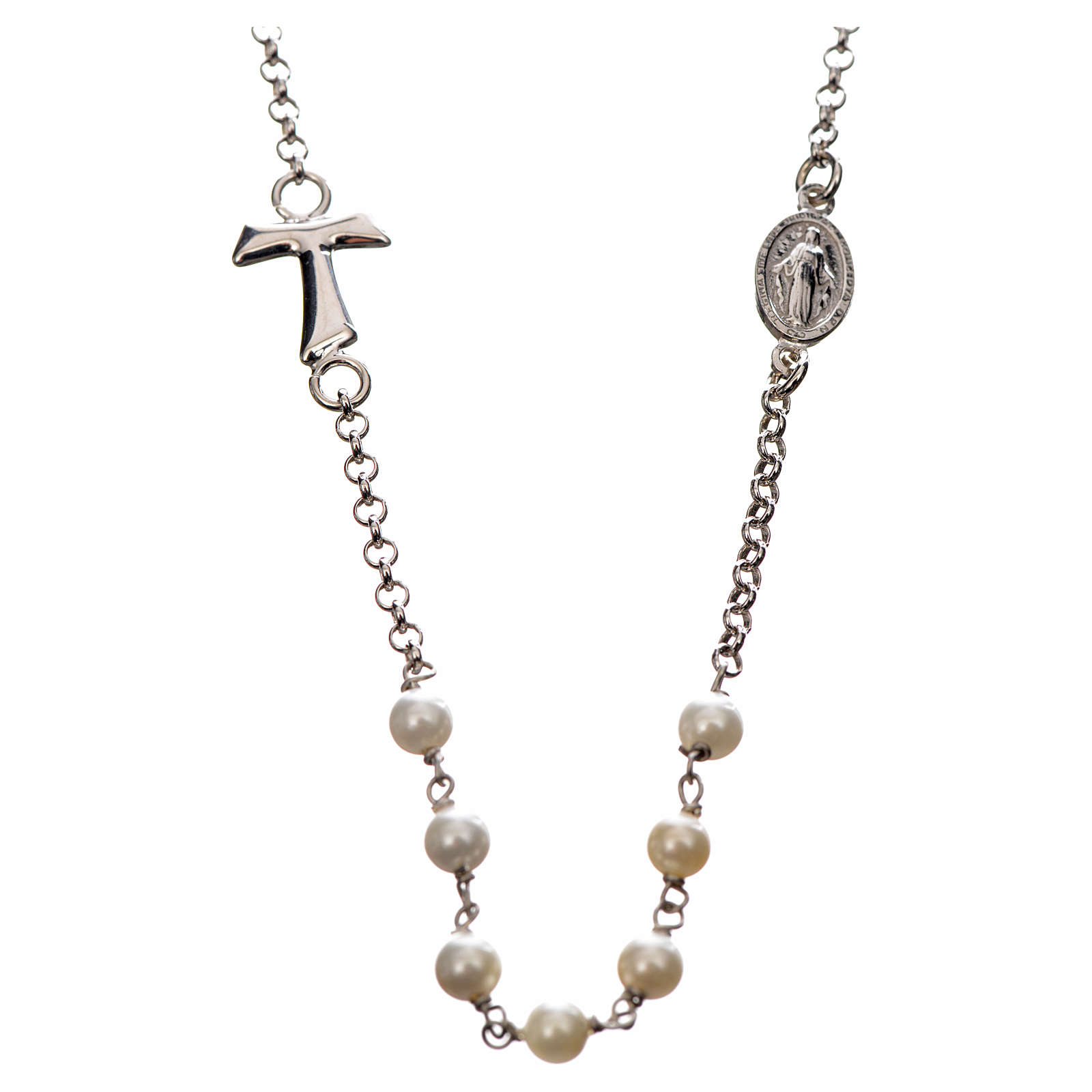 Silver necklace with Tau cross and white pearls, MATER jewels 4