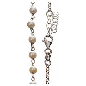 Silver necklace with Tau cross and white pearls, MATER jewels s3