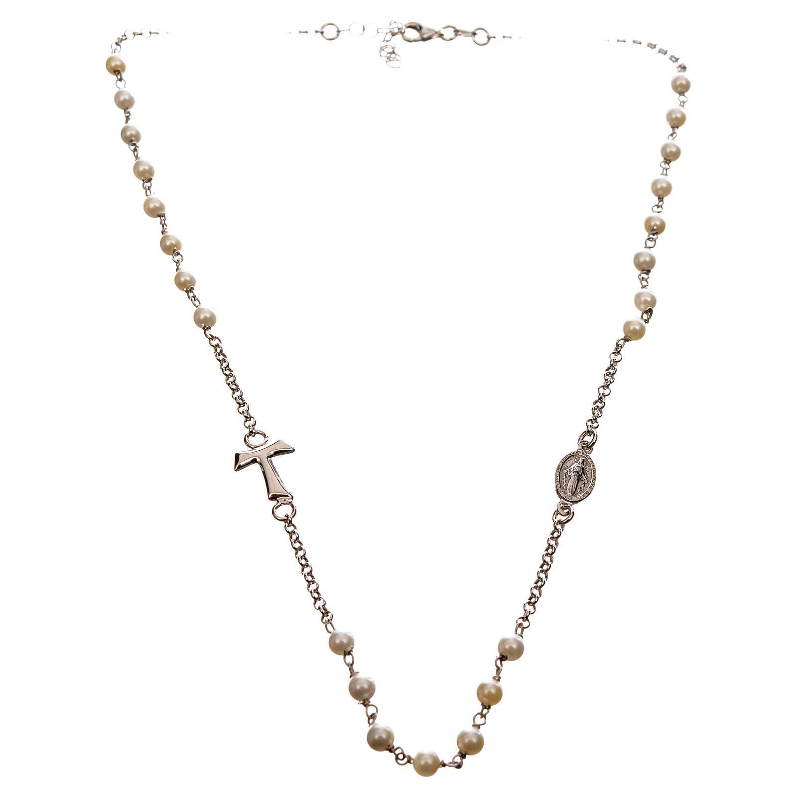 Collar MATER blanco cadena plata 925 tau y medalla 4