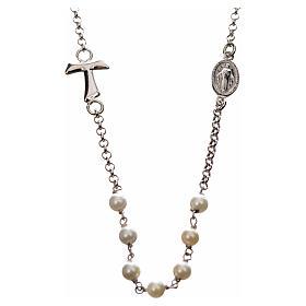Collar MATER blanco cadena plata 925 tau y medalla s1
