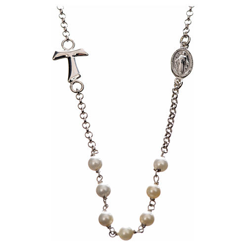 Silver necklace with Tau cross and white pearls, MATER jewels 1