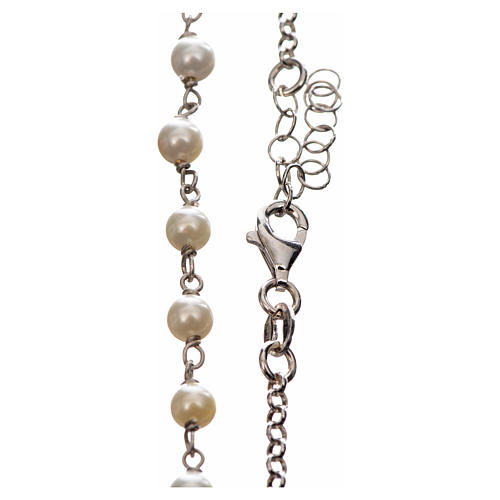 Silver necklace with Tau cross and white pearls, MATER jewels 3