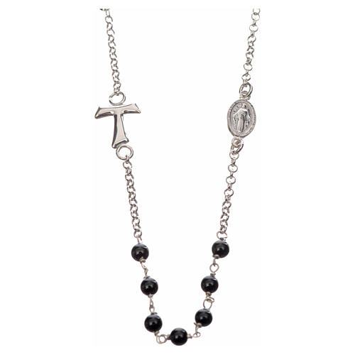 Silver necklace with Tau cross and freshwater pearls, MATER jewe 1