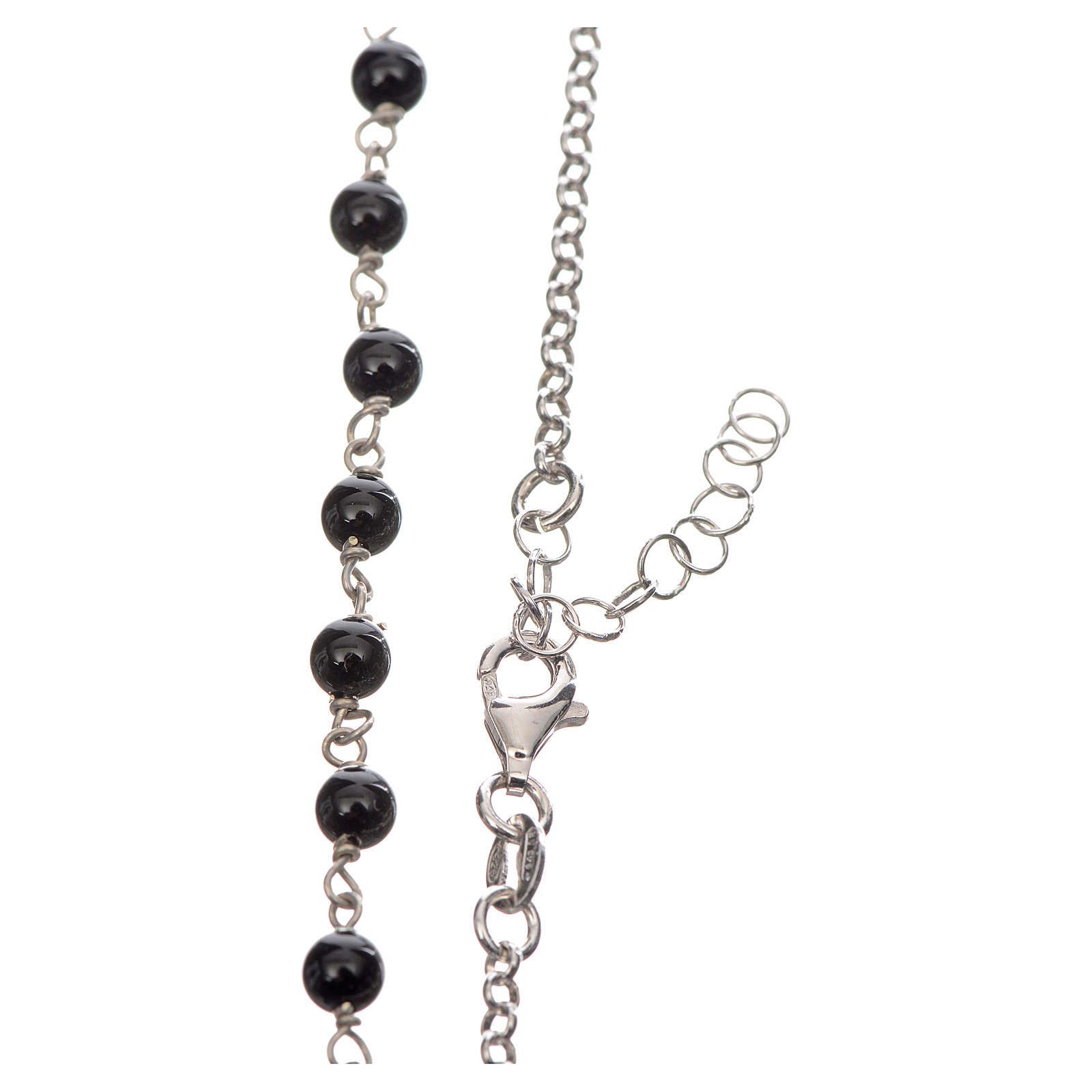 Collar MATER plata 925 perlas negras tau y medalla 4