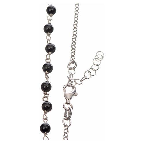 Collar MATER plata 925 perlas negras tau y medalla 3