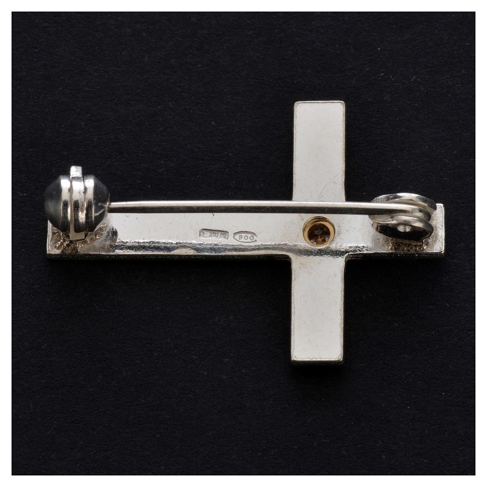 Broche croix clergyman argent 925 4