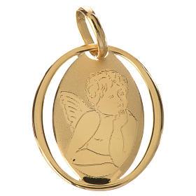 Ciondolo ovale con angelo di Raffaello oro 750/00 - gr.0,66 s1