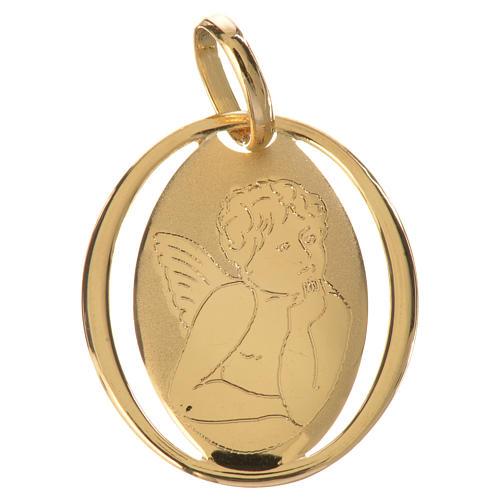 Ciondolo ovale con angelo di Raffaello oro 750/00 - gr.0,66 1