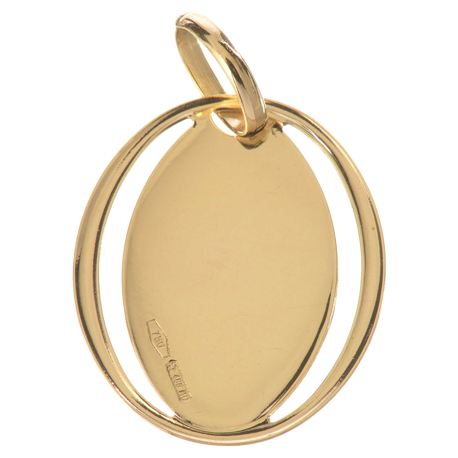 Ciondolo ovale con angelo in preghiera oro 750/00 - gr. 0,72 4