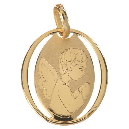 Ciondolo ovale con angelo in preghiera oro 750/00 - gr. 0,72 1