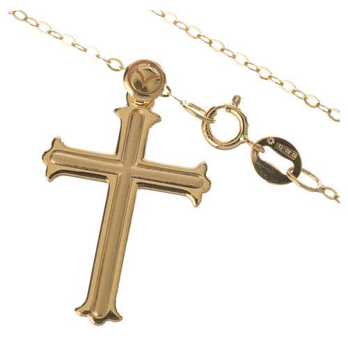 Trefoil cross pendant and chain in 18k gold 1,98 grams 2