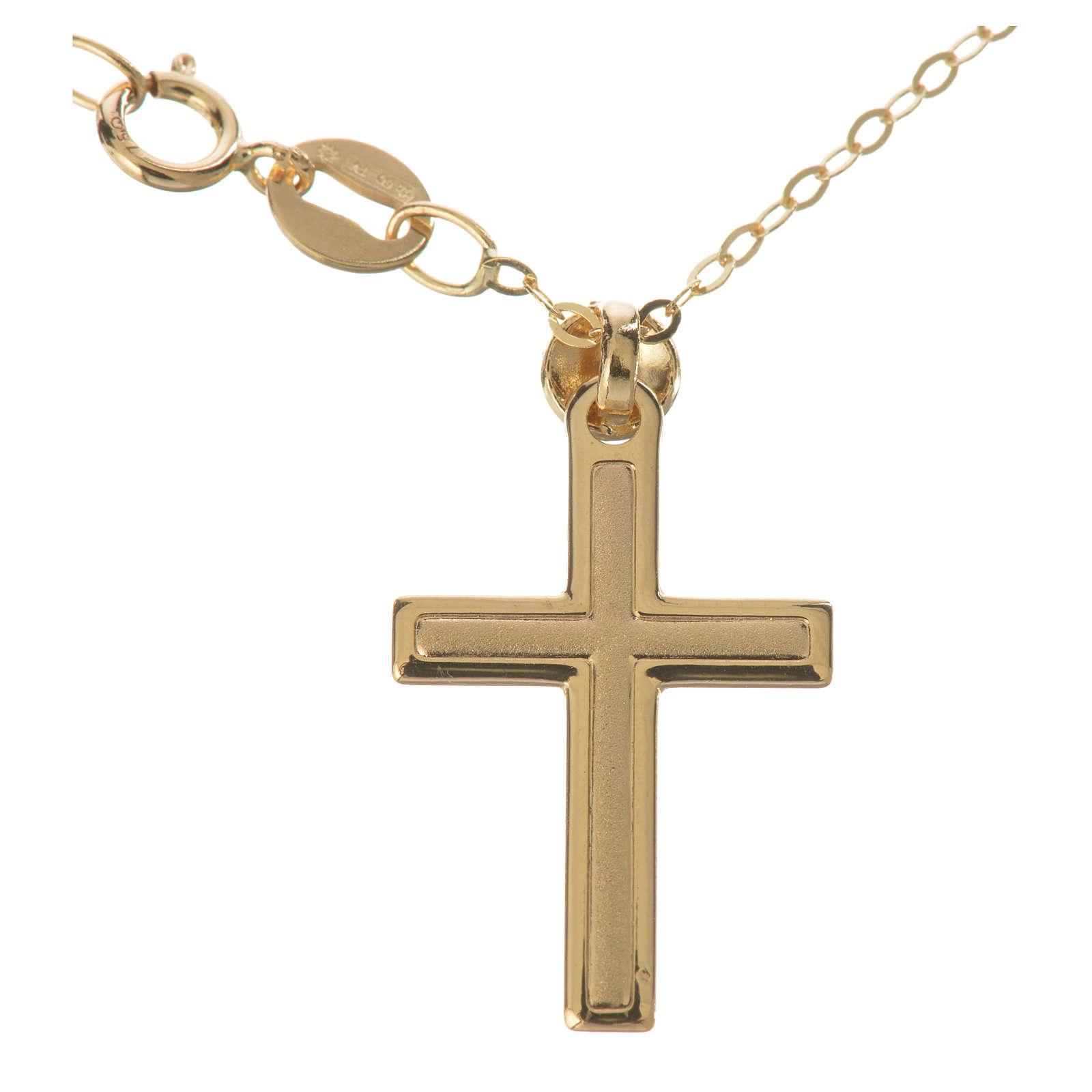 Croce con collana in oro 750/00 - gr. 1,74 4