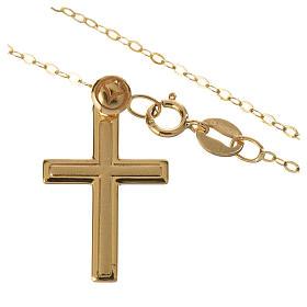 Croce con collana in oro 750/00 - gr. 1,74 s2