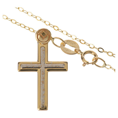 Necklace and cross pendant in 18k gold 1,74 grams 2