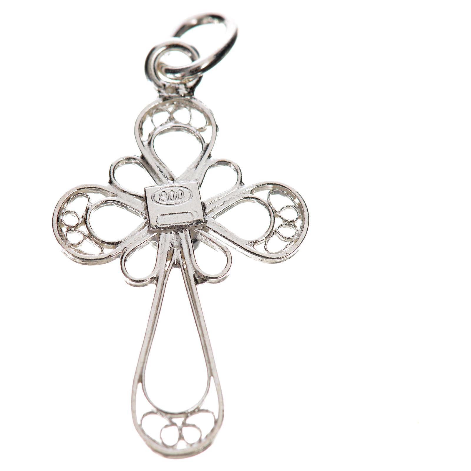 Kreuz mit Koralle Silber 800 Filigranarbeit 4