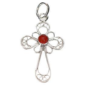 Kreuz mit Koralle Silber 800 Filigranarbeit s1